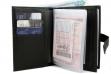 Автобумажник водителя с отделением для паспорта, денег и карт с синей прошивкой